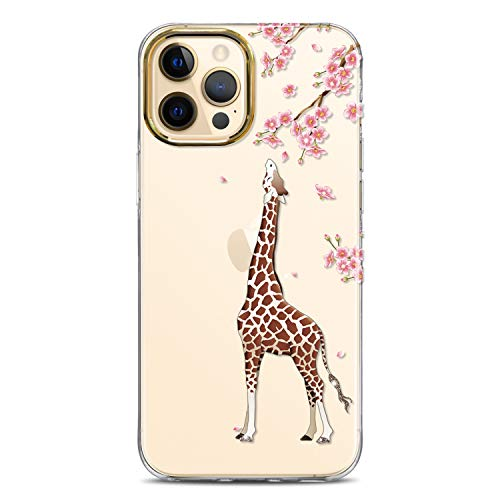 JAHOLAN Clear Case Compatible with iPhone 12 Pro Max Cute Design Flexible TPU Bumper Hard Back Cover Phone Case 6.7 inch 2020 Eating Giraffe Brown