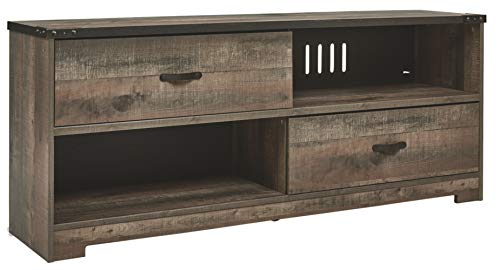 """Signature Design by Ashley Trinell Rustic TV Stand Fits TVs up to 58"""" with 2 Drawers, Natural Brown"""