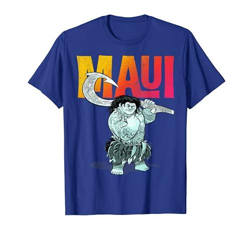 Disney Moana Maui Gradient Text Tough Pose Portrait T-Shirt