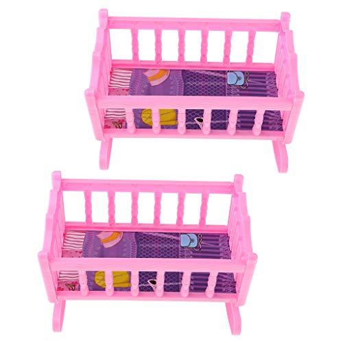 harayaa Cama Mecedora Decoración para Dormitorio de Bebé para Kits de Casa de Muñecas de 20 Cm, Rosa
