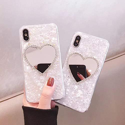 LIUYAWEI Estuche para teléfono con Espejo de Lujo Diamond Marble Love Makeup para iPhone 6 S 7 8 Plus X XR XS MAX para Samsung GalaxyS8 S9 Note 8 9 S10 E, para iPhone 6 6S