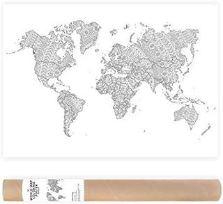 50x70cm Poster da Colorare per Adulti Mappa del Mondo Mandala