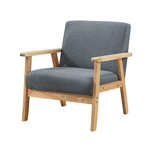 BonChoice Retro Wooden Accent Lounge Chair, Linen Fabric Armchair Tub Occasional Chair for Living Room Reception Bedroom Balcony Comfortable Padded Seat Grey (Single Sofa Chair, Dark Grey)