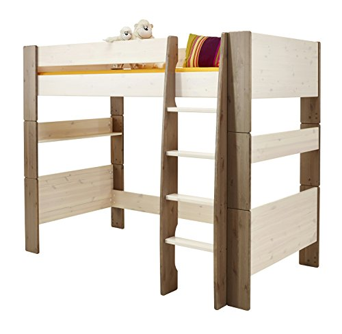 Steens For Kids Kinderbett, Hochbett, inkl. Lattenrost, Liegefläche 90 x 200 cm, Kiefer massiv, Weiß,Grau