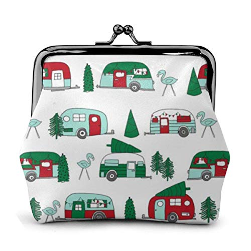 Leder Geldbörse Weihnachten Vintage Caravan Schnalle Münze Geldbörsen Vintage Tasche Kiss-Lock Wechselgeldbörse