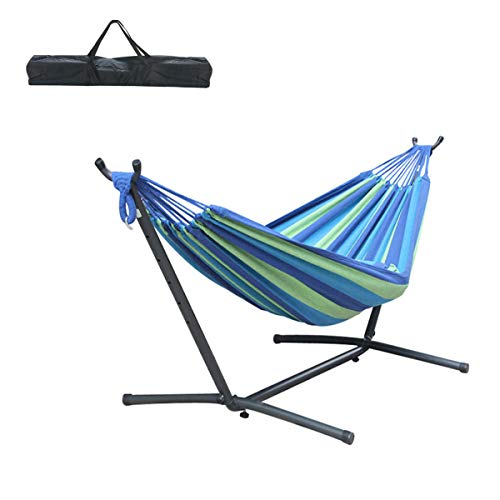 Kerrogee Brazilian-Style Cotton Double Hammock, Two Person Adjustable Hammock Bed with Steel Stand, Storage Carrying Case, Easy Installation