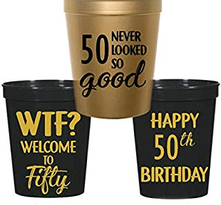 50th Birthday Stadium Plastic Cups - WTF, Welcome to 50, 50 Never Looked So Good (10 Cups) black and gold