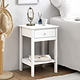 woodluv Bed<span class='highlight'>side</span> Drawer with Shelf Cabinet <span class='highlight'>Side</span> Table Storage Unit