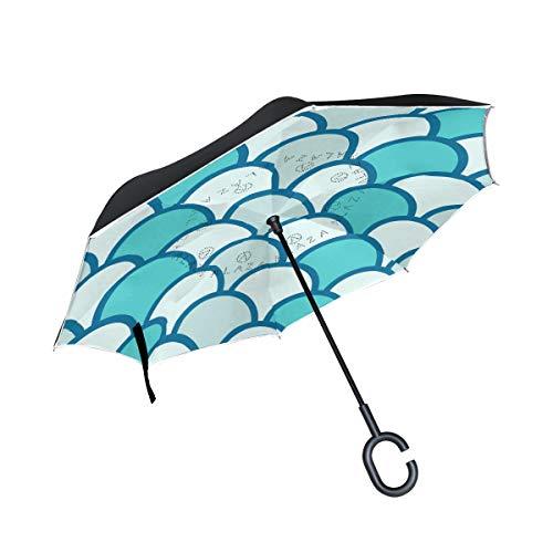 Regenschirme mit nautischem Maßstab, wendbar, für Damen, Herren, Reisen, winddicht, Golf, regenfest, doppellagig
