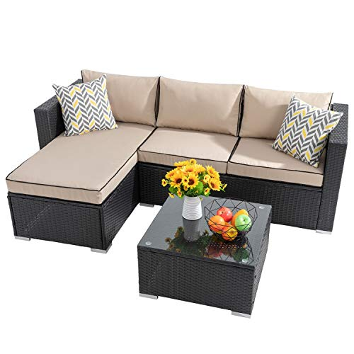 Shintenchi Outdoor Wicker Patio Sofa Set, Black All-Weather Rattan Small Sectional Patio Set and Chaise Lounge w/ Glass Table and Washable Couch Cushions Patio Conversation Set (3 Piece,Brown/Black)