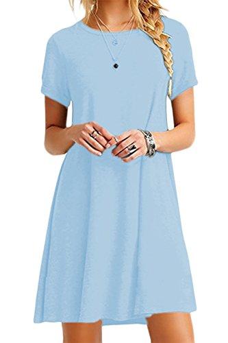 YMING Abito da Donna Allentato Abito a Maniche Corte Basic Abito a t-Shirt Girocollo, Azzurro, XS 34