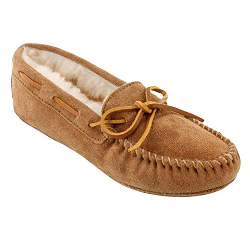 Minnetonka Women's Sheepskin Softsole Moccasin 8 M Golden Tan