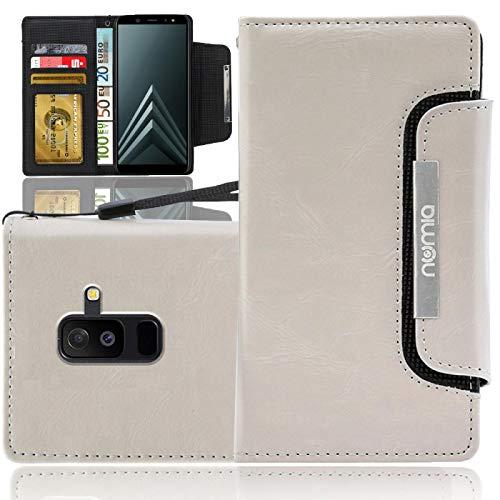 numia Samsung Galaxy A6+ 2018 Hülle, Handytasche [Schutzhülle Standfunktion, Kartenfach] PU Leder Tasche für Samsung Galaxy A6 Plus 2018 Case Wallet [Weiss]