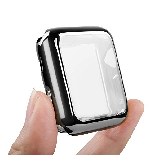 top4cus Environmental Anti-Resistant Soft TPU Lightweight 42mm Iwatch Case All-Around Protective Screen Protector Compatible Apple Watch Series 5 Series 4 Series 3 Series 2 - Black
