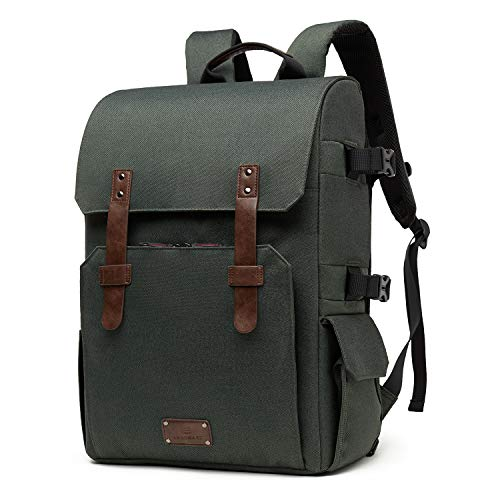 Camera Backpack, BAGSMART Large Capacity Camera Backpack, Anti-Theft DSLR SLR Camera Bag Water Resistant Canvas Backpack Fit up to 15.6' Laptop with Rain Cover, Tripod Holder for Men and Woman (Green)