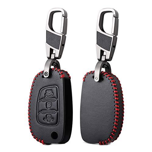WOAIWO LingDian 3 Botones de Cuero de Cuero Remoto Llave Llave Fob Shell Cubierta Ajuste para Hyundai Creta I10 i20 Tucson Elantra Santa Fe 2017 2017 2017 2017 2017