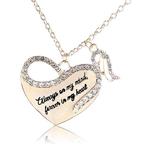 Janly Clearance Sale Collares y colgantes para mujer, el collar de amor con alas de ángel con incrustaciones de diamantes resalta tu personalidad, regalo de cumpleaños para mujeres y niñas (dorado)