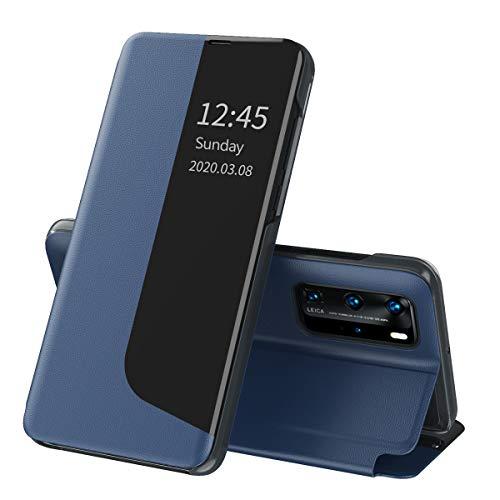 Suhctup Compatible con Huawei P20 Pro Funda Smart View Flip Carcasa de Cuero PU+PC Ultrafina de Piel con Función de Soporte y Cierre Magnetico Caso Protección de 360° Case-Azul