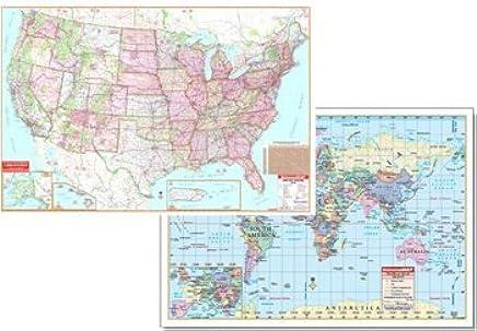 Amazon.com: Us & World Physical Map Set 50x32 (Set of 2 ...