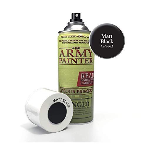 The Army Painter – Colour Primer - Matt Black | 400ml | Acryl-Spray | Grundierung | für Modellmalerei