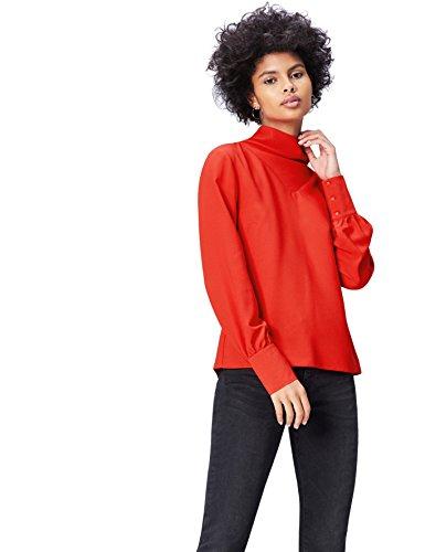 Amazon-Marke: find. Damen Bluse find. Damen Bluse mit Hochstellkragen, Rot (Scarlet red), 36, Label: S