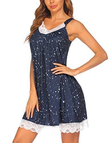 Ekouaer Womens Chemise Sleepwear Full Slips Lace Nightgown Cotton Jersey Lingerie (Black Starry Sky, X-Large)