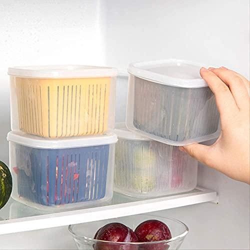Weiying Küchenbedarf 4 STÜCKE Drain frische Box Nordic Style Kompartmentalisierte grüne Zwiebel Aufbewahrungsbox Küche Versiegelte Box Kühlschrank Frischhilfe Aufbewahrungsbox