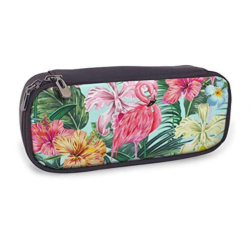 Estuche Escolar de Gran Capacidad,Hoja de La Selva Flor de Hibisco Flamencos Rosados Estilo Hawaiano,Bolsa de Lápiz Organizador para Material Papelería con Cremallera Doble