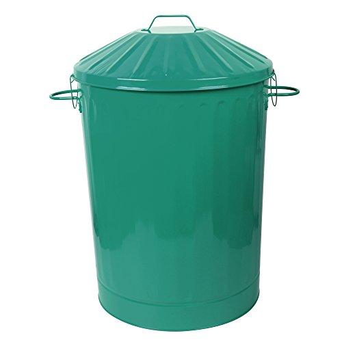 CrazyGadget® 90 Litre 90L Extra Large Colour Metal Dustbin Kitchen House Garden Storage Unit Bin with Special Locking Lid (Dark Green)