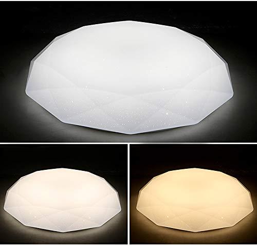 Moderne led-plafondlamp, 24 W, plafondlamp, afstandsbediening, dimbaar, diamant, sterrenhemel, creatieve deken, acryl, binnen, Ø 40 cm × H 7 cm, wit
