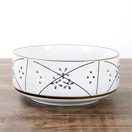 cuenco para comer, Estilo japonés cerami japonés antiguo vajilla vajilla cerámica tazón pintado a mano de color de fideos de fideos punto de fideos punto de estrella 20.5x10cm Ensalada de ramen Sopa d