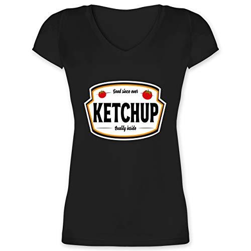 Karneval & Fasching - Ketchup Kostüm Karneval Fasching - XS - Schwarz - Damen Shirt Ketchup - XO1525 - Damen T-Shirt mit V-Ausschnitt