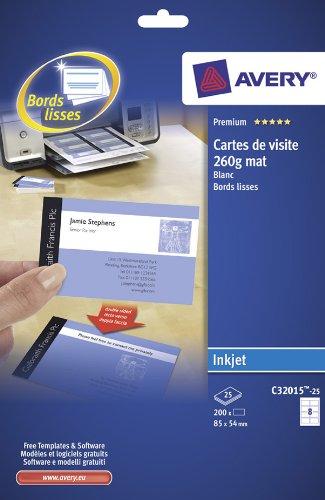 Avery–C32015–25–200weiße Visitenkarten mit glatten Kanten. 85x 54mm. Tintenstrahldrucker