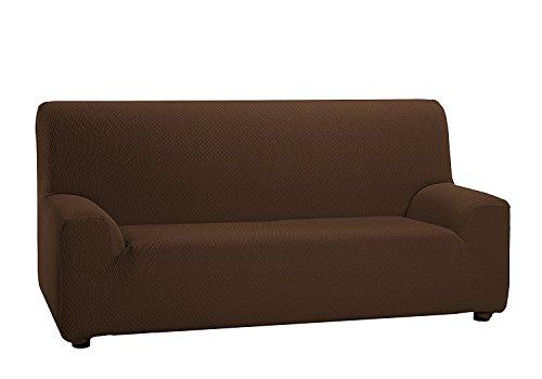 Texturas VIP- Funda de sofá Elástica Low Cost (Varios tamaños Disponibles) (1_Plaza_80_110_cms, Marrón)
