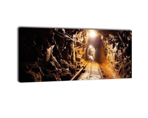 wandmotiv24 Leinwandbild Panorama Nr. 300 Stollen 100x40cm, Keilrahmenbild, Bild auf Leinwand, Untertage Kohle Bergbau