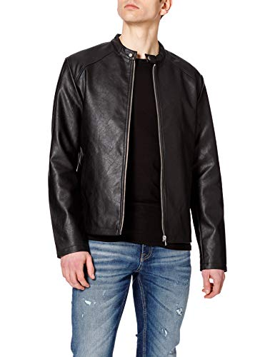 Jack & Jones JORCONNOR Jacket Chaqueta de Cuero sintético, Negro, L para Hombre