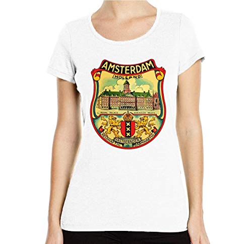 Desconocido Amsterdam Holland Royal Palace Retro Graphic Camiseta con Cuello Redondo para...