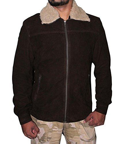 Hollywood Jacket De los hombres The Walking Dead chaqueta de cuero de gamuza Rick Grimes 2X-Pequeño marrón
