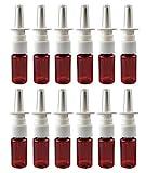 12 botellas de plástico marrón con spray nasal, rellenables, pulverizadores de niebla fina, atomizadores, cosméticos, cosméticos, perfumes, contenedor de almacenamiento (30 ml)