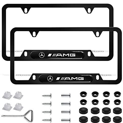 2Pcs Newest Custom Personalized 4 Hole Matte Aluminum alloy AMG Logo License Plate Frame with Screw Caps Cover Set,Applicable to US Standard car License Frame, for Mercedes Benz AMG(Matte Black).