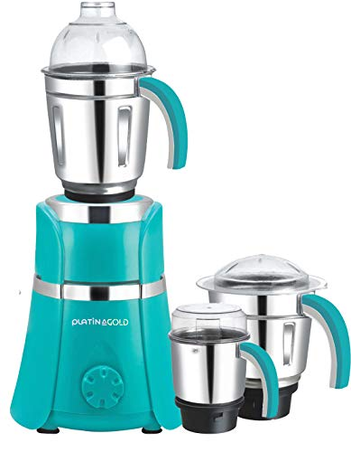 PLATINAGOLD ISI Certified 1HP Mixer Grinder With HEAVY DUTY COPPER MOTOR & 3 Heavy Stainless steel Jars (Green)