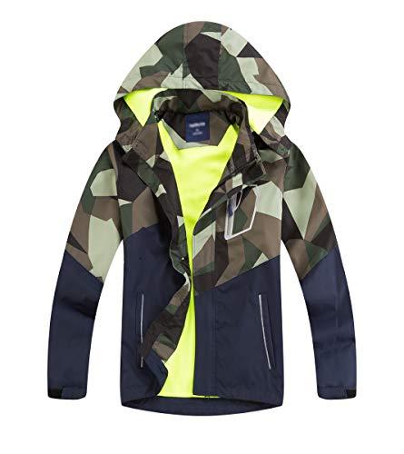 LAUSONS Kinder Gefütterte Regenjacke Jungen Camouflage Wasserdicht Jacke Leichte Übergangsjacke mit Abziehbar Kapuze Armeegrün DE: 140-146 (Herstellergröße 140)