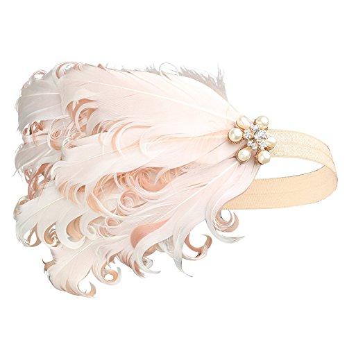 BABEYOND 1920s Feder Stirnband 20er Jahre Stil Art Deco Flapper Haarband Great Gatsby Stirnband Damen Kostüm Accessoires (Pink mit elastischem Band)