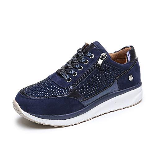 ORANDESIGNE Donna Scarpe da Ginnastica Casual Basse Sneakers Sportive Running Fitness Gym Shoes Respirabile Cerniera Outdoor Scarpe da Corsa Blu 42 EU