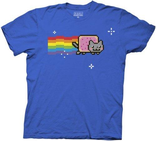 Nyan Cat Men Blue T-Shirt (XL)