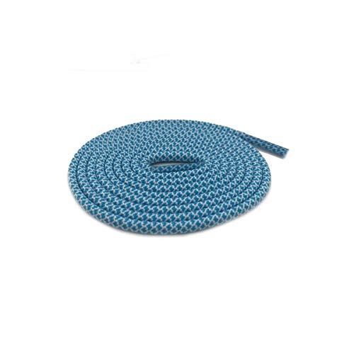 Schnürsenkel Multi Color Zwei tonte Shoestring Farbige Kinder-Sport-Schuh-Spitze-Runde Seil Bootlace, 50 Turquoise blueWh, 120cm
