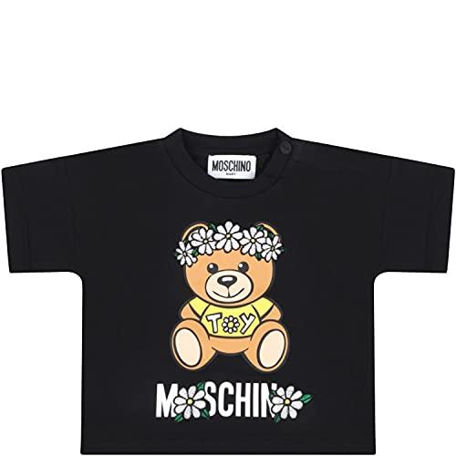 Moschino - Camiseta negra para bebé con osito de peluche – 6...