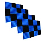 48 Pack Black&Blue Acoustic Foam Panels 2' X 12' X 12' Soundproofing Studio Foam Wedge Tiles Fireproof - Top Quality - Ideal for Home & Studio Sound Insulation (48Pack, BLACK&BLUE)