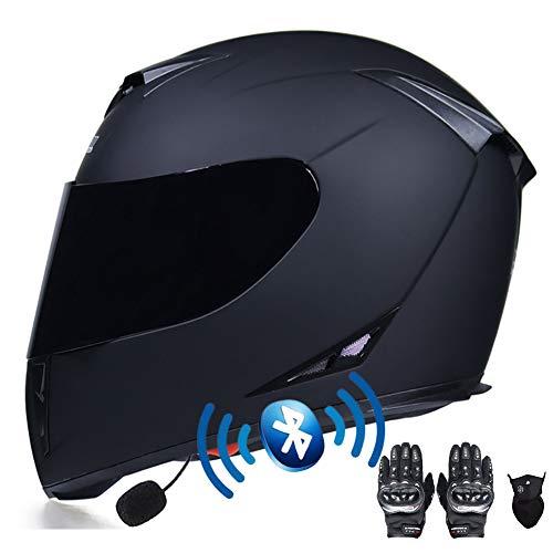 Cascos Moto Bluetooth Integrado,Casco de Moto Scooter con Guantes y Mascarilla, Casco Integral con ECE Homologado Doble Anti Niebla Visera para Mujer Hombre Adultos 55-64CM