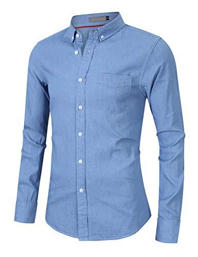 CAMLAKEE Herren-Hemd Slim-Fit Langarmhemd Baumwolle Freizeit Reine Farbe Jeanshemd mit Brusttasche Hellblau XXL